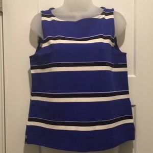 Sleeveless Top, size-M, Blue/Black/White
